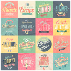Wall Mural - Summer and Travel set - labels and emblems.