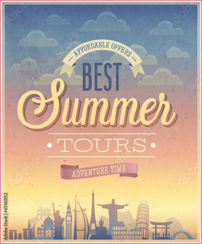 Wall mural Summer tours poster. Vector illustration.