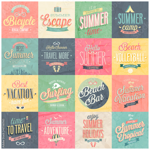 Wall mural Summer and Travel set - labels and emblems.