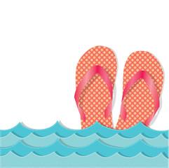 Ocean waves with flip flops or sandals