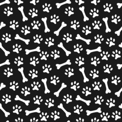 Animal seamless vector pattern of paw footprint and bone. Endles