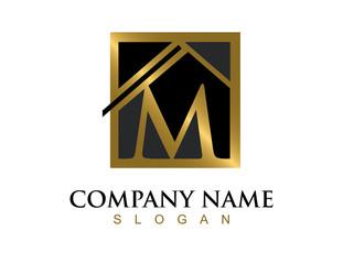 Gold letter M house logo