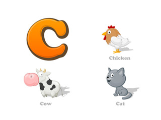 ABC letter C funny kid icons set: chicken, cow, cat