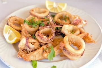 Fresh fried calamary rings