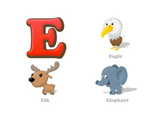 ABC letter E funny kid icons set: eagle, elk, elephant