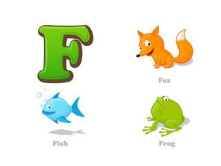 ABC letter F funny kid icons set: fox, fish, frog