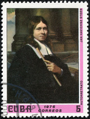 stamp  shows Self-portrait, by Jan Havicksz Steen