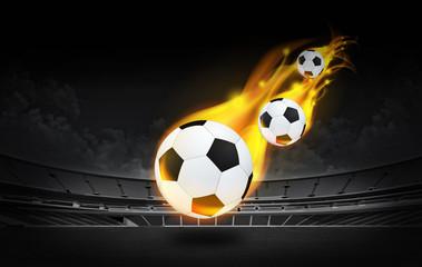 bright flamy symbol on the stadium background