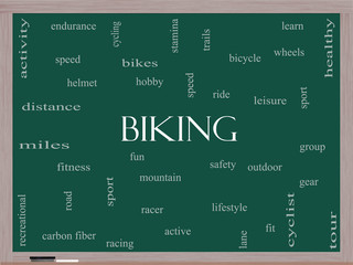 Biking Word Cloud Concept on a Blackboard