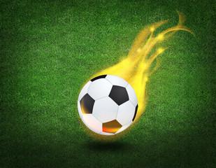 fiery soccer ball on playing field of stadium
