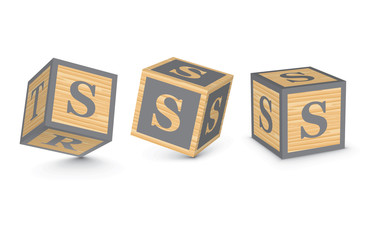 Vector letter S wooden alphabet blocks