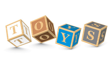 Word TOYS written with alphabet blocks