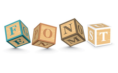 Word FONT written with alphabet blocks