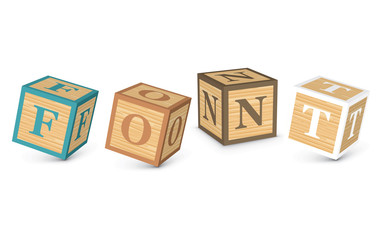 Word FONT written with alphabet blocks