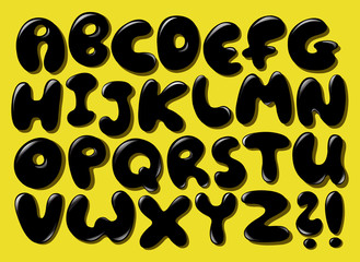 Black bubble alphabet
