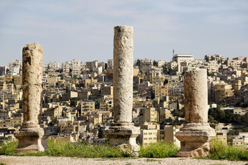 pillar ruins on Citadel top, Amman, Jordan