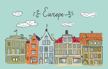 Vector hand drawn European houses