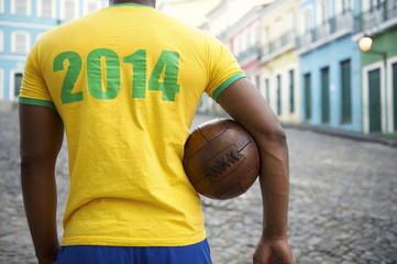 Brazilian Football Player in 2014 Shirt Colonial Street Brazil