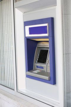 ATM machine, focus on keyboard