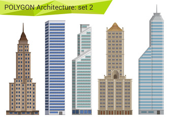 Polygonal style skyscrapers set. City design elements. Wall mural