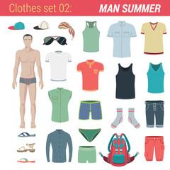 Man summer clothing vector icon set. Pants, socks, hat, t-shirt.
