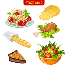 Main meal menu vector icon set. Spaghetti, bread, salad.