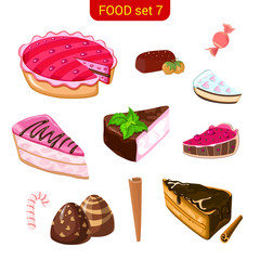 Sweet cake vector icon set. Food collection. High detail.