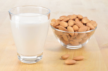 Glass of Almond milk on a table.
