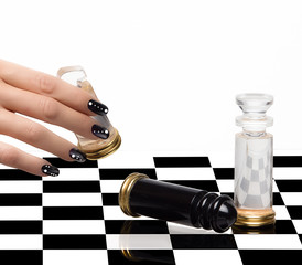 Nail Art. Manicure and Chess