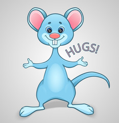 Blue mouse wants to hug
