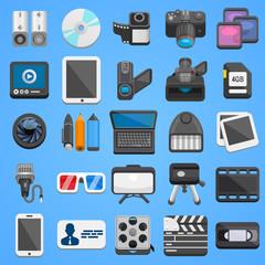 Flat icon set foto video. Vector