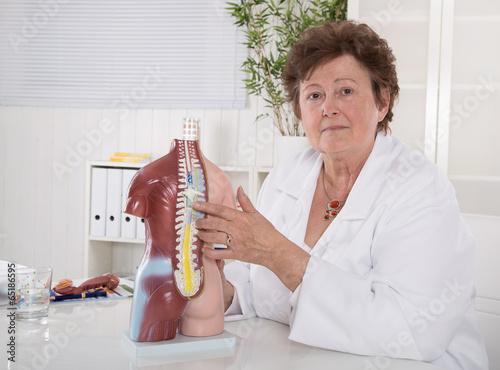 Weiblicher Doktor erklärt den menschlichen Körper\