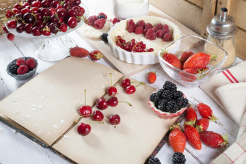 preparation for cake with berries