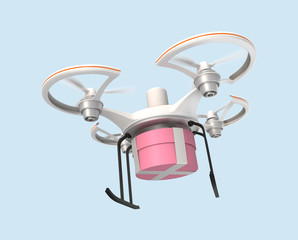 Air drone carrying gift box for fast delivery concept