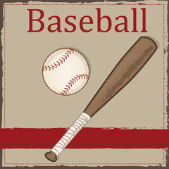 Vintage baseball  and wooden bat