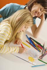 Zeichnung Mutter mit ihrer Tochter (8-9),Portrait