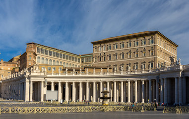 View of Apostolic Palace from Saint Peter's Square in Vatican