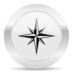 compass silver glossy web icon