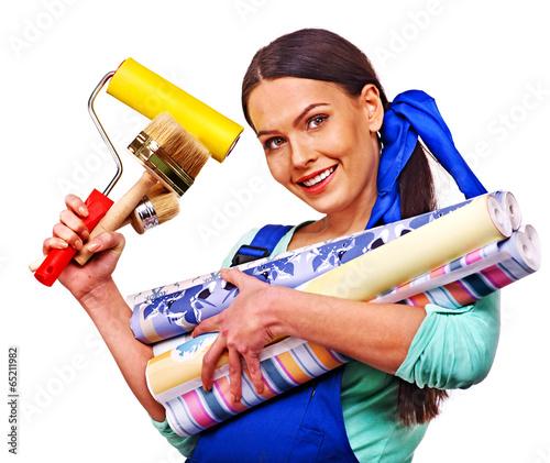 builder woman with wallpaper stockfotos und lizenzfreie bilder auf bild 65211982. Black Bedroom Furniture Sets. Home Design Ideas