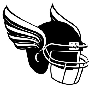 american football helmet with wings in black and white