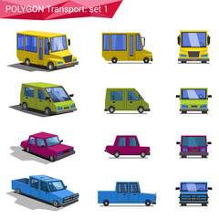 Polygonal style vehicles vector icon set. Bus, van, car, pickup.