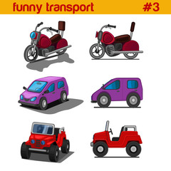 Fun cute cartoon vehicles vector icon set. Bike, car, SUV.