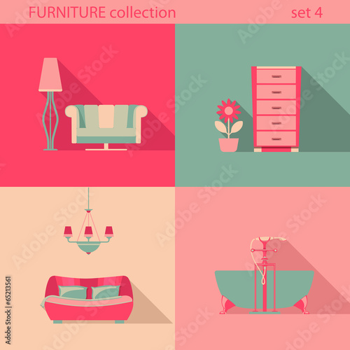 Creative design furniture icons set Interior Long shadow style