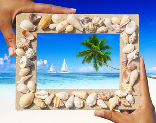 Sand Frame With Two Sail Boats