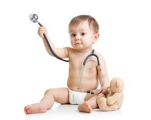 funny baby weared diaper with stethoscope