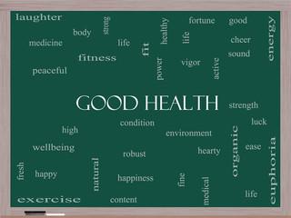 Good Health Word Cloud Concept on a Blackboard
