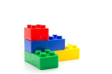 Lego Plastic building blocks on white background