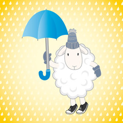 sheep with an umbrella on a yellow background