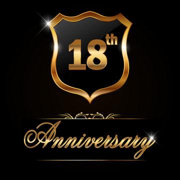 18 year anniversary , 18th anniversary decorative golden emblem