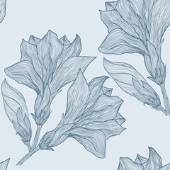 Vector hand drawn seamless pattern in retro style